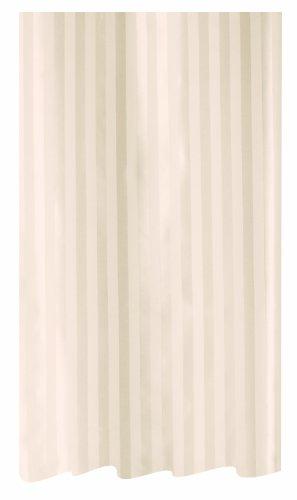Spirella Magi Jasmin Satin Textile Polyester Shower Curtain. 240 x 200 cm. White/Beige Polyester-textil