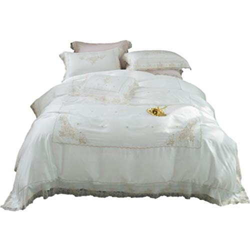 BGAOYUHUA 100% Baumwolle Romantik Spitze Bettbezug Sets, Weiche Schlafzimmer Ultra Soft...