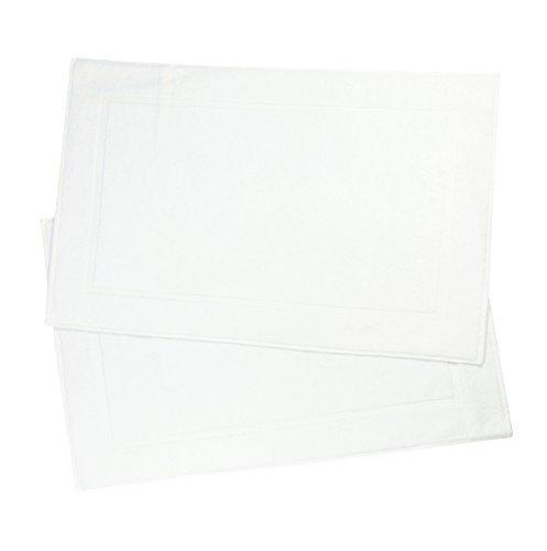ZOLLNER® 2er-Set Badematten / Badvorleger / Badteppich weiß 50x80 cm aus 100% Baumwolle, Gewicht ca. 520 g/qm, in weiteren Farben erhältlich, in Premium-Qualität, Serie