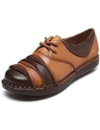 Zapatos de Mujer Mocasines de Primavera/Otoño de Cuero Zapatos con Cordones Zapatos de Conducción de Estilo Nacional...