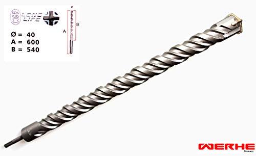 WERHE SDS PLUS Betonbohrer 40 x 600 mm Hammerbohrer Steinbohrer Beton Bohrer
