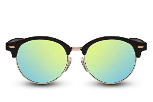 Cheapass Sonnenbrille Rund Braun Schwarz Verspiegelt UV400 Vintage Damen Herren