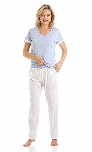 Motif pois coton Jersey manches courtes Pyjamas- bleu ou rose S/M/L/XL Bleu - Bleu