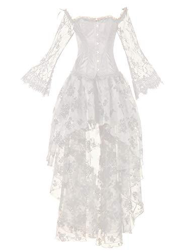Korsage Retro Damen Kleider Kostüm Gothic Verkleidung für Cosplay Halloween Party Karneval ,Weiß,S ()