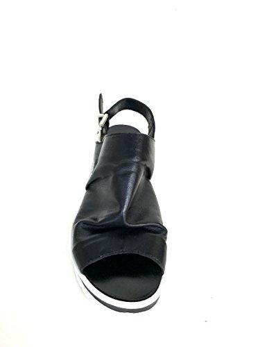 Sandali open toe DVnina43 in pelle platform Divine Follie MainApps Nero