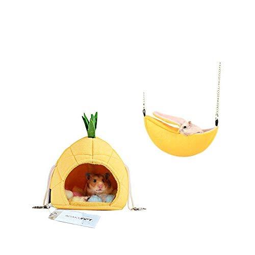 Amakunft 2Stück Hamster Betten, Chinchilla Käfig Zubehör Hängematte, Hamster Spielzeug für Kleintiere Sugar Glider Eichhörnchen Chinchilla Hamster Ratten Spielen Schlafen