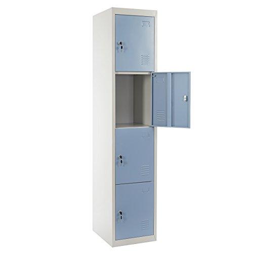 Mendler Schließfach Boston T163, Schließfachschrank Wertfachschrank Spind, Metall 180x38x45cm ~ blau -