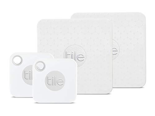 Tile Mate mit austauschbarer Batterie und Tile Slim - Schlüsselfinder. Brieftaschenfinder. Artikelfinder - 4er Pack (2 x Mate, 2 x Slim)
