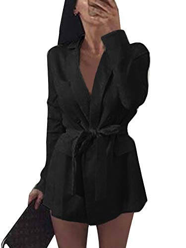Minetom Damen Mini Blazer Kleid Frauen Elegant Langarm V-Ausschnitt Solide Hemdkleid mit Gürtel Business Lange Hülse Büro Jacken Anzug Schwarz DE 34