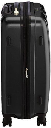 Packenger Koffer - Stone (L), Schwarz, 4 Zwillingsrollen, 81 Liter, 3,5Kg, 66cm, Koffer mit TSA-Schloss, Erweiterbarer Hartschalenkoffer (Polycarbonat) reißfester Trolley Reisekoffer, glänzend - 4