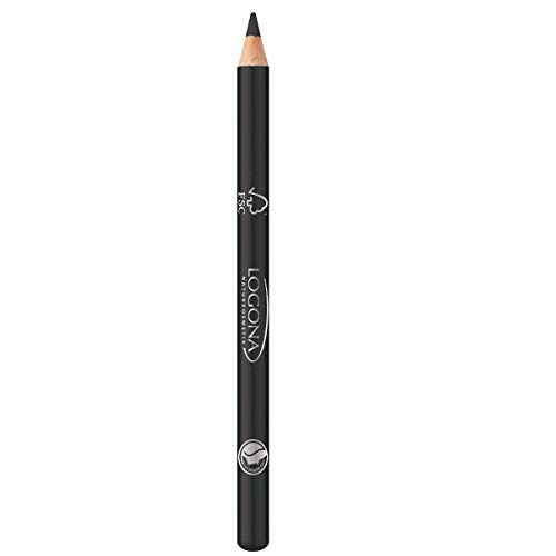 LOGONA Naturkosmetik Eyeliner Pencil No. 01 Deep Black, Tief-Schwarz durch pflanzliches Carbon, Eyelinerstift, Kajalstift, Natural Make-up, mit Anti-Aging-Wirkung, Vegan, 1.14g