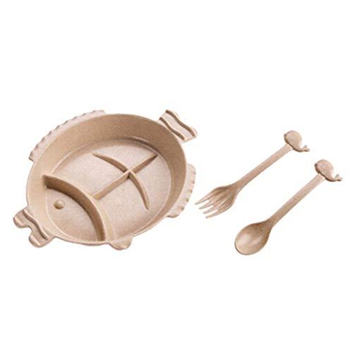 Sharplace Assiette à Dîner Divisée pour Enfants Vaisselle pour Enfants Bébé - Beige