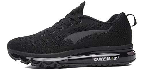 ONEMIX Chaussures de Course pour Hommes Léger Coussin d'air Cushion Outdoor Sport Trainer Sneaker - Noir 45 EU