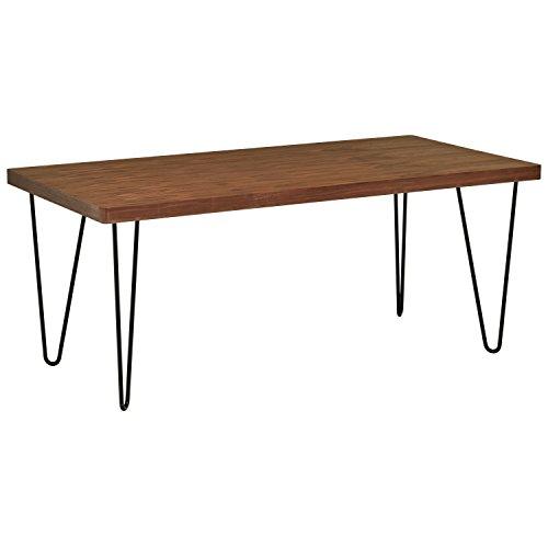 Rivet, tavolo da pranzo modello Industrial, con gambe sottili, larghezza 180 cm; colore noce e nero