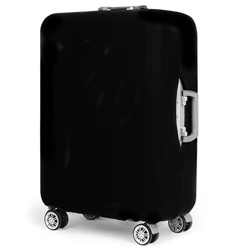YianBestja Elastisch und Einfarbig Kofferhülle Koffer Abdeckung Schutzhülle Kofferschutzhülle Kofferbezug Luggage Gepäck Cover mit Band und Klettverschluss (Schwarz, XL (29-32 Zoll))