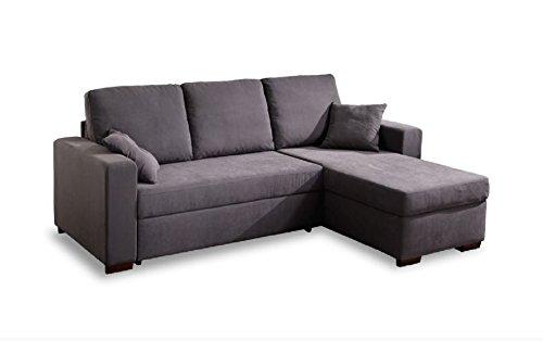 Casarreda divano letto angolare mod. penny con penisola reversibile ecopelle fango