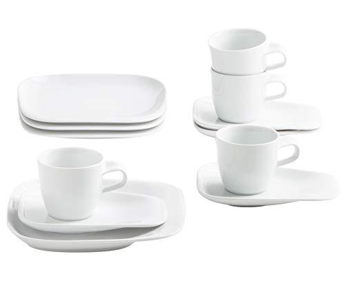 Kahla 15F254A90015C Elixyr Porzellan Frühstücksset für 4 Personen eckig Kaffeeservice Tassen Kleiner Teller 12-teilig weiß Kaffeeset modern Essgeschirr (Weiß China Teller-set Von 12)