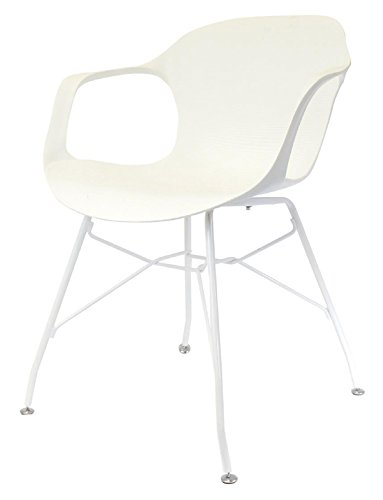 Fauteuil en fer coloris blanc - 54.5x55x75.5 cm - PEGANE -