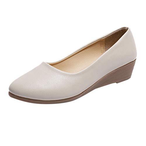 22de2365 BHYDRY Zapatos Casual de cuña para Mujer Bombas de Cabeza Redonda Zapatos  de Trabajo Profesionales Salvajes