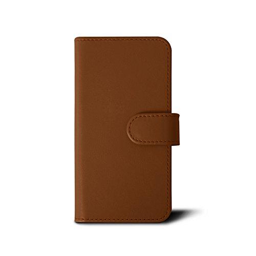 Lucrin - Étui Portefeuille iPhone 7 - Marron Foncé - Cuir Lisse Cognac