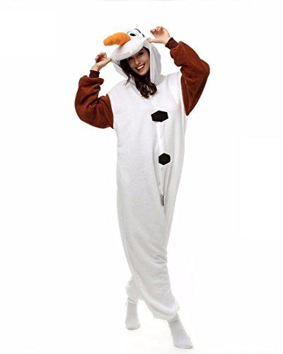 WRH Unisex Flanell Onesie Plus Size Pyjama animaux Frauen High Quality Cosplay Kostüm Olaf Tier Nachtwäsche Schlafsack , (Plus Lustige Halloween Kostüme Größe)