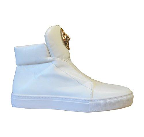 Nouvelle Mesdames haute avant élastique en or boucle de cheville bottes (A7) Blanc