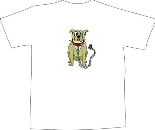 T-Shirt E767 Schönes T-Shirt mit farbigem Brustaufdruck - Logo / Grafik - Comic Design - böser Boxer Hund mit großer Kette Schwarz