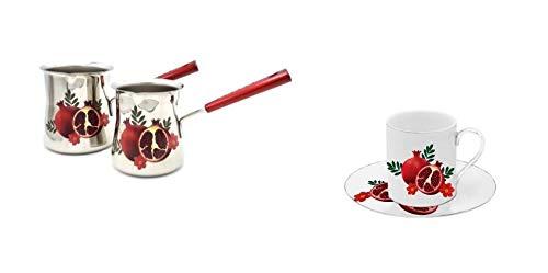 Floral Demitasse (Set aus robustem Edelstahl Kaffeestövchen + passende Espressotassen & Untertassen mit Granatapfelmotiv)