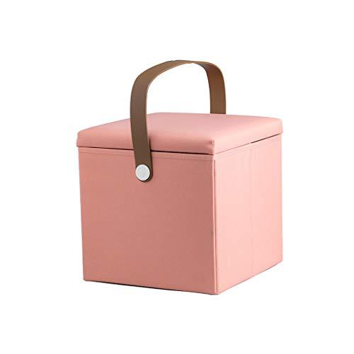 LGQ-LIFE 12 Zoll Faltbarer Speicherfußschemel, Osmanischer Sitzschuh-Bank-Schemel, Entfernbarer Oxford-Stoff-Spielzeug-Aufbewahrungsbehälter (Color : Pink) -