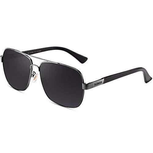ZCF Sonnenbrillen Polarisierte Sonnenbrillen Männer Persönlichkeit Brille Fahrer Spiegel Männer Fahren Spiegel (Farbe : Gun Frame Black Gray Piece)