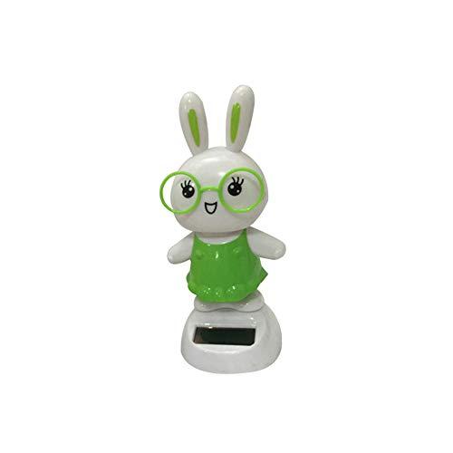 ValianhAgen, Simpatico Coniglietto oscillante Giocattolo ad energia Solare, Decorazione per Interni Auto, Green