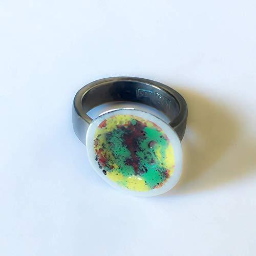 Precioso anillo realizado plata ley esmalte fuego