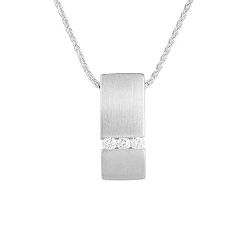Diamond Line Damen - Halskette 375er Gold 3 Diamanten ca. 0,06 ct, weißgold