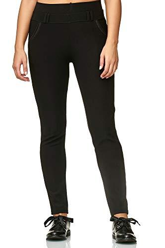 JillyMode hochwertige Damen High Waist Stretch Hose I Weiß I Schwarz I Marine (HY005-Schwarz-XL/2XL) - Stretch Hose, Stoff