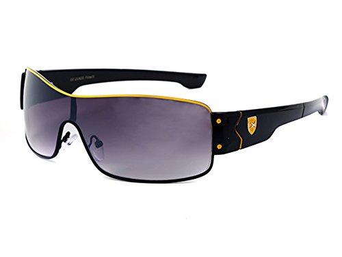 LOOX Sonnenbrille Pilotenbrille 400UV X-Emblem Monoglas - Modell Bahamas & Ibiza gelb