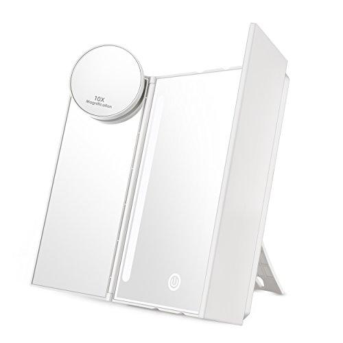 Auxmir Kosmetikspiegel mit LED Licht und 10X-Vergrößerungsspiegel, Schminkspiegel Beleuchtet mit Blendfreier Bleuchtung für Schminken, Rasieren, Touchschalter für Dimmbare Heilligkeit