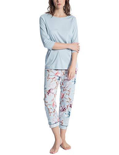 Calida Damen Cosy Flowers Zweiteiliger Schlafanzug, Mehrfarbig (Summer Blue 560), Small -
