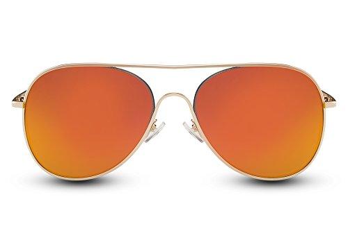 Cheapass Sonnenbrille Verspiegelt Gold-en Pilot-en Flieger UV400 Designer-Brille Metall Damen Herren