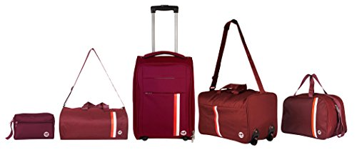 3G 5Pc Polyester Set Of 5 Maroon Softsided Luggage Set (Suitcase ,Strolley Duffle Bag, Drum Bag,Pouch ,Messenger Bag)