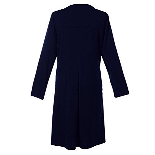 Lihaer Donna Vestito Elegante Mini A-line 1/2 Manica Casual Abiti Taglia Grossa Azul oscuro