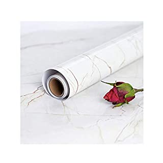 Marmor Folie Selbstklebende 45 cm × 200 cm PVC Küche Bad Dekoration Vinyl Kontaktpapier Renovierung Aufkleber Möbelfolie DIY Selbstklebende Tapete Dekorfolie Dekorative Wandfolie Klebefolie Marmor