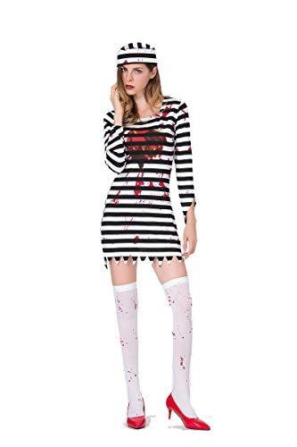 PRTQI Halloween Ghost Festival Horror Erwachsene Gefangene Kostüm Bloody Demon Bühnenkostüm,XL