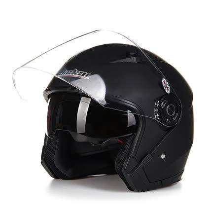 LanLan Protezione per motociclista Casco moto vintage motociclistico a faccia aperta ad alta resistenza con doppia lente - Nero opaco M