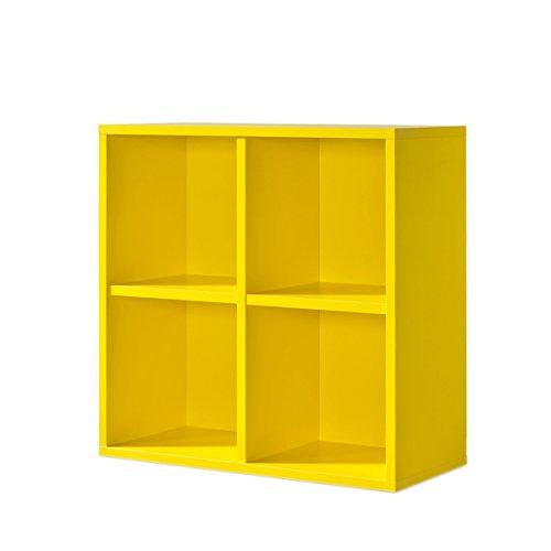 Gelber Regalwürfel im zitronengelb - werkzeuglose Montage