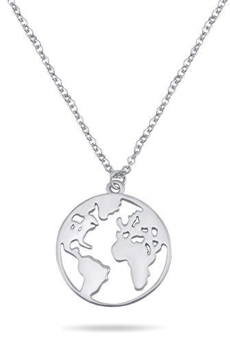 Nuoli® Kette Weltkarte Damen Silber (45 cm) 925 Sterling Silber Weltkugel Halskette