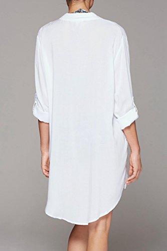 ASSKDAN Femme Sexy Blanc Coton Chemisie Col V Manche 3/4 Tunique Mini Robe de Plage Blanc