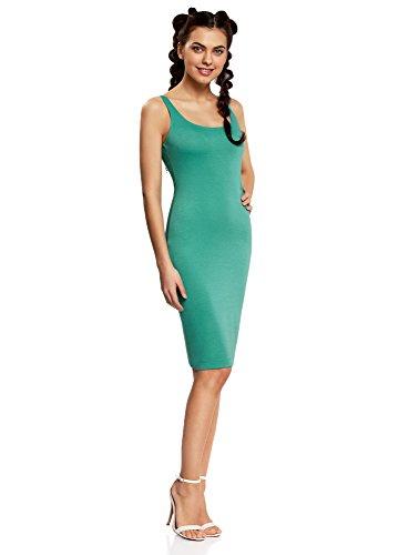 oodji Ultra Damen Jersey-Kleid mit Dünnen Trägern Grün (6D00N)
