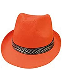 borsalino fluo en polyester avec un bandeau noir et argent chapeau de gangster