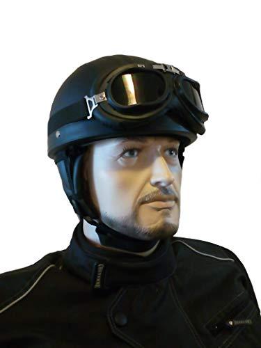 CHEYENNE Retro Oldtimer Helm mit PU-Leder bezogen und Fliegerbrille J2 (L (59/60 cm))