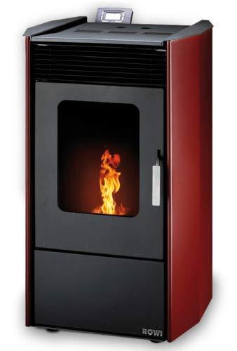 Rowi Estufa de pellets HPO 9,0Easy Premium, acero, rojo, 8,14kW Salida de aire exterior, depósito de pellets de 17kg.